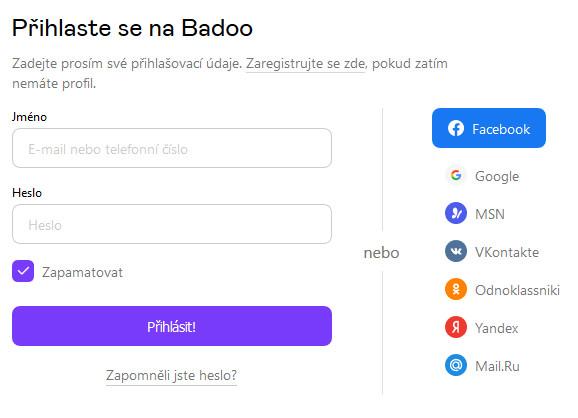 Badoo - možnosti přihlášení