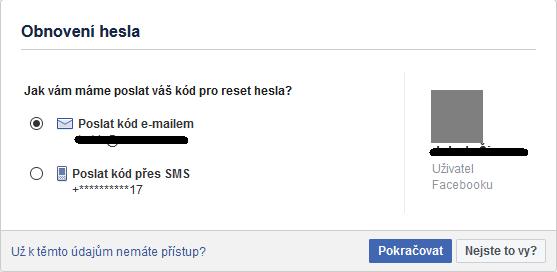 Facebook přihlášení - obnovení hesla